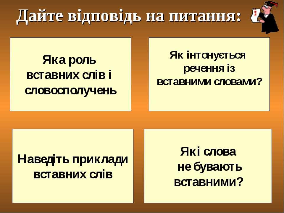 Яка роль вставних слів і словосполучень Які слова не бувають вставними? Як ін...