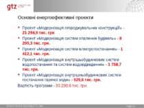 Основні енергоефективні проекти Проект «Модернізація огороджувальних конструк...