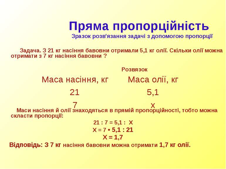 Пряма пропорційність Зразок розв'язання задачі з допомогою пропорції Задача. ...