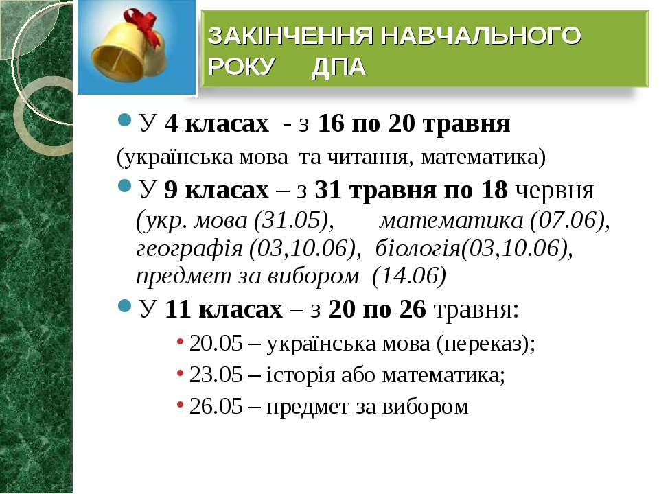 У 4 класах - з 16 по 20 травня (українська мова та читання, математика) У 9 к...