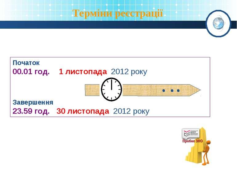 Терміни реєстрації Початок 00.01 год. 1 листопада 2012 року Завершення 23.59 ...