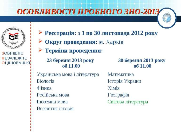 ОСОБЛИВОСТІ ПРОБНОГО ЗНО-2013 Реєстрація: з 1 по 30 листопада 2012 року Округ...