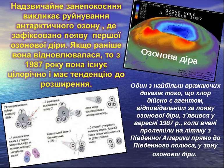 Озонова діра Один з найбільш вражаючих доказів того, що хлор дійсно є агентом...