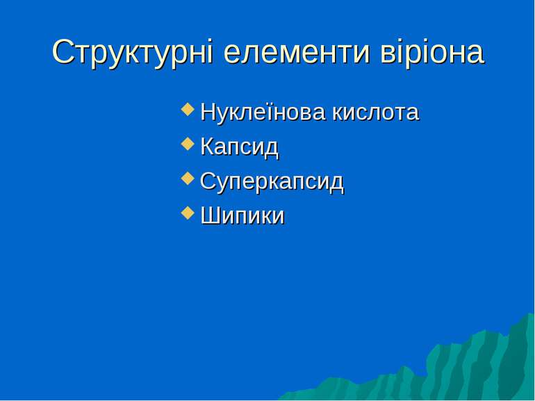 Структурні елементи віріона Нуклеїнова кислота Капсид Суперкапсид Шипики