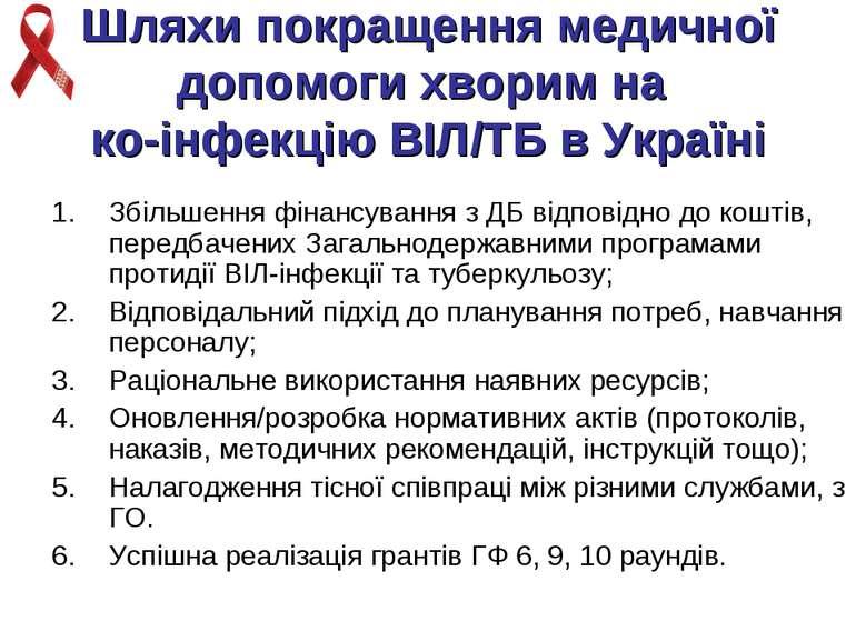Шляхи покращення медичної допомоги хворим на ко-інфекцію ВІЛ/ТБ в Україні Збі...