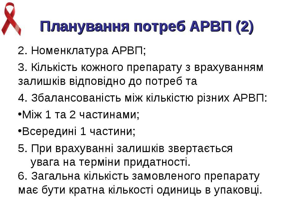 Планування потреб АРВП (2) 2. Номенклатура АРВП; 3. Кількість кожного препара...