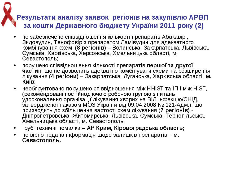 Результати аналізу заявок регіонів на закупівлю АРВП за кошти Державного бюдж...
