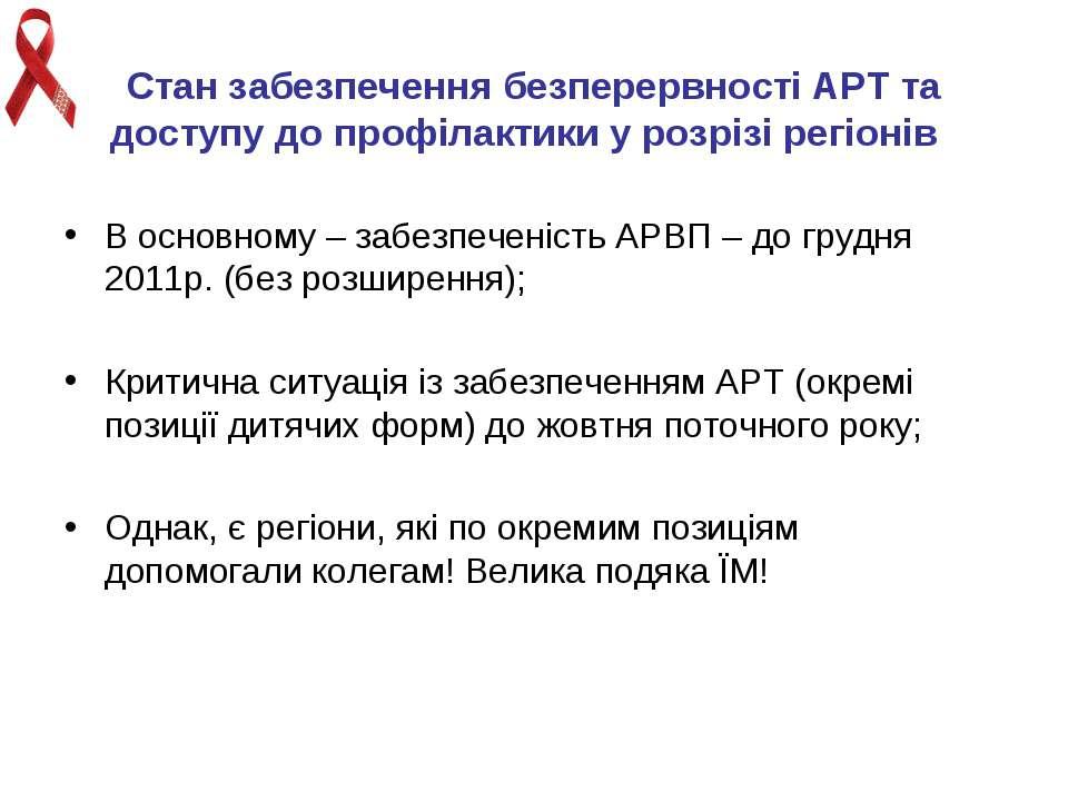 Стан забезпечення безперервності АРТ та доступу до профілактики у розрізі рег...