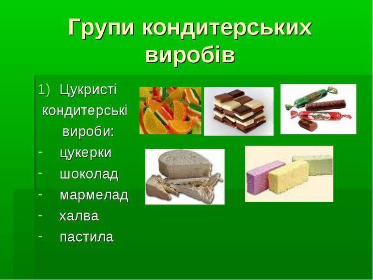 Групи кондитерських виробів Цукристі кондитерські вироби: цукерки шоколад мар...