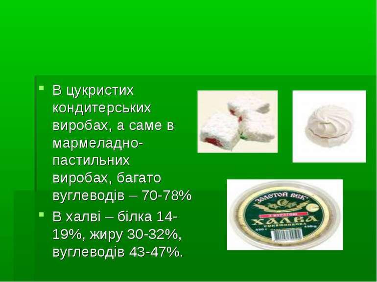 В цукристих кондитерських виробах, а саме в мармеладно-пастильних виробах, ба...