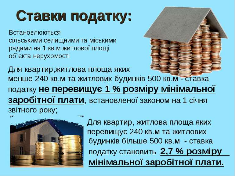 Ставки податку: Для квартир,житлова площа яких менше 240 кв.м та житлових буд...