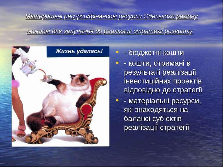Матеріальні ресурси/фінансові ресурси Одеського регіону можливі для залучення...