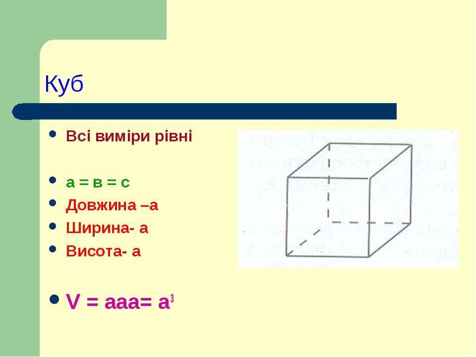 Куб Всі виміри рівні а = в = с Довжина –а Ширина- а Висота- а V = ааа= а3
