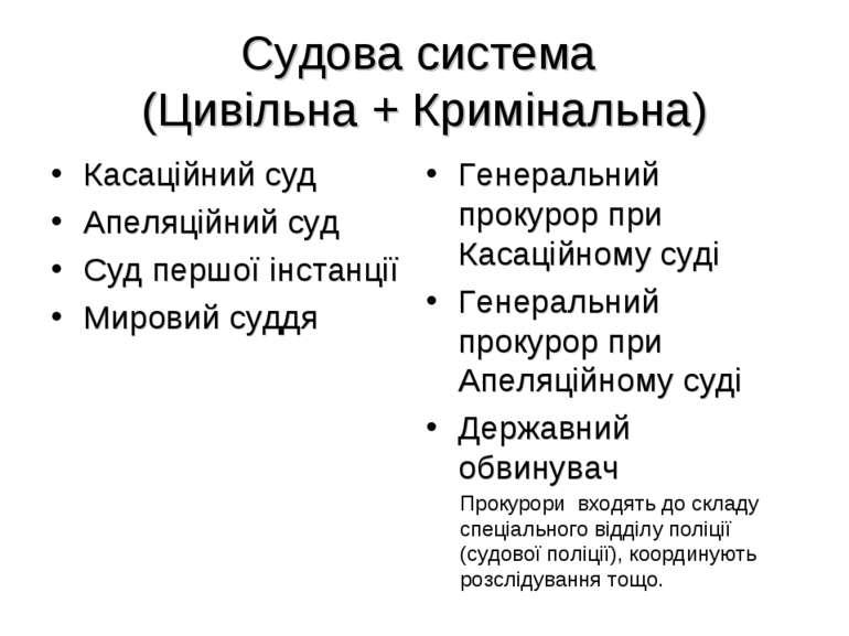 Судова система (Цивільна + Кримінальна) Касаційний суд Апеляційний суд Суд пе...