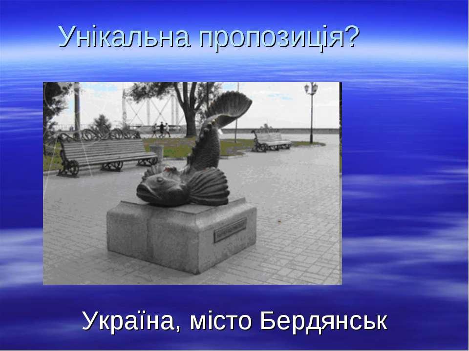 Унікальна пропозиція? Україна, місто Бердянськ