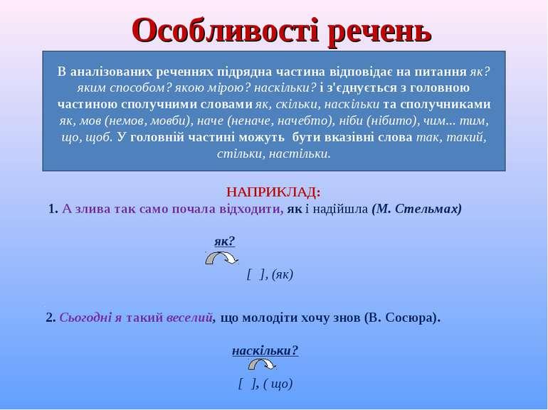 Особливості речень В аналізованих реченнях підрядна частина відповідає на пит...