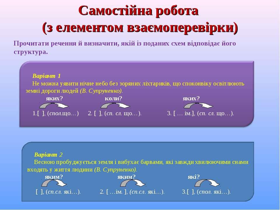 Самостійна робота (з елементом взаємоперевірки) Варіант 2 Весною пробуджуєтьс...