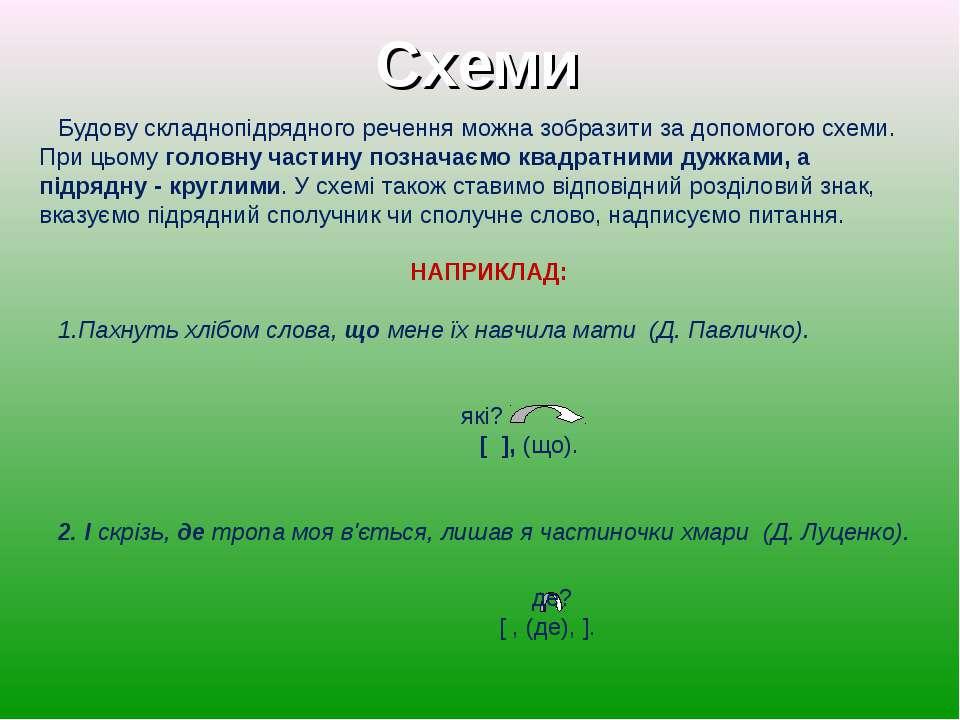 Будову складнопідрядного речення можна зобразити за допомогою схеми. При цьом...
