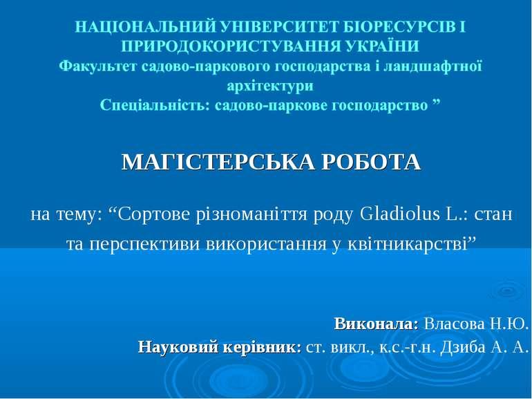 """МАГІСТЕРСЬКА РОБОТА на тему: """"Сортове різноманіття роду Gladiolus L.: стан та..."""