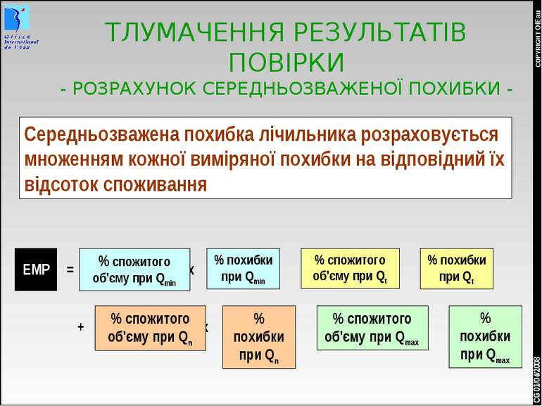 * COPYRIGHT OIEau CG 01/04/2008 ТЛУМАЧЕННЯ РЕЗУЛЬТАТІВ ПОВІРКИ - РОЗРАХУНОК С...