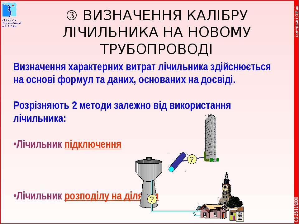 * COPYRIGHT OIEau CG 25/11/2008 ВИЗНАЧЕННЯ КАЛІБРУ ЛІЧИЛЬНИКА НА НОВОМУ ТРУБО...