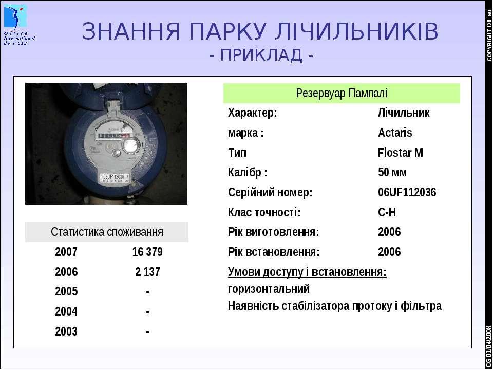 * COPYRIGHT OIEau CG 01/04/2008 ЗНАННЯ ПАРКУ ЛІЧИЛЬНИКІВ - ПРИКЛАД - Резервуа...