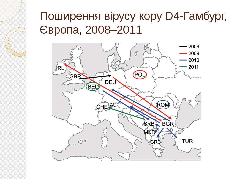 Поширення вірусу кору D4-Гамбург, Європа, 2008–2011