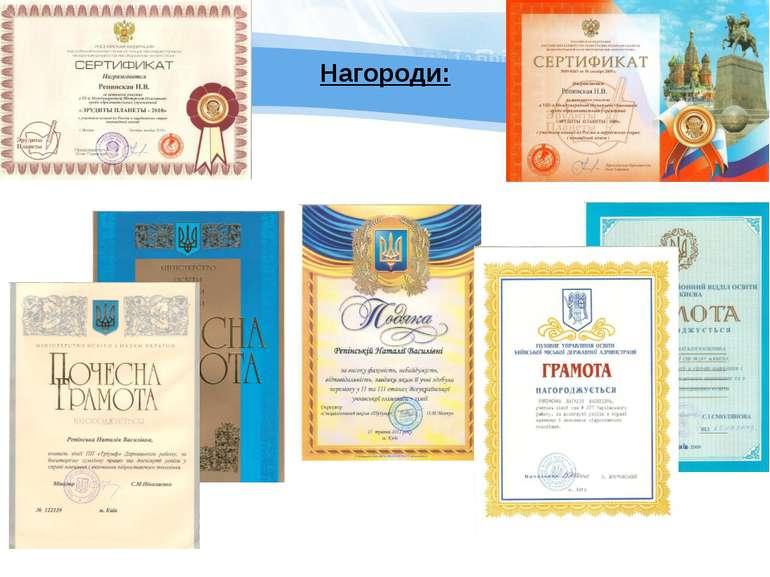 Нагороди: