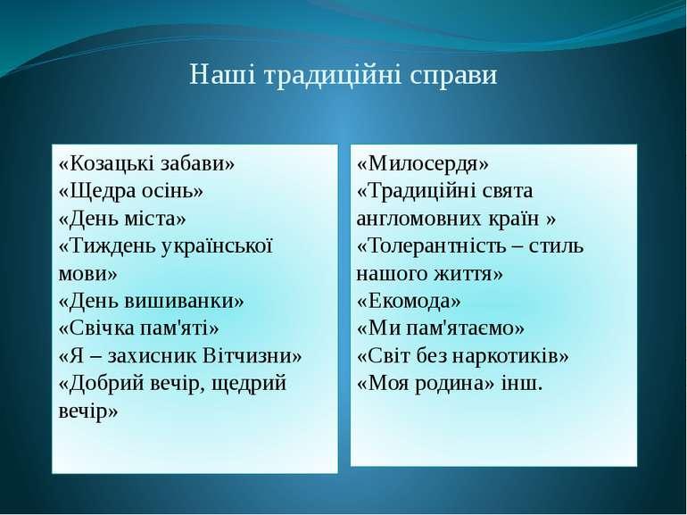 Наші традиційні справи «Козацькі забави» «Щедра осінь» «День міста» «Тиждень ...