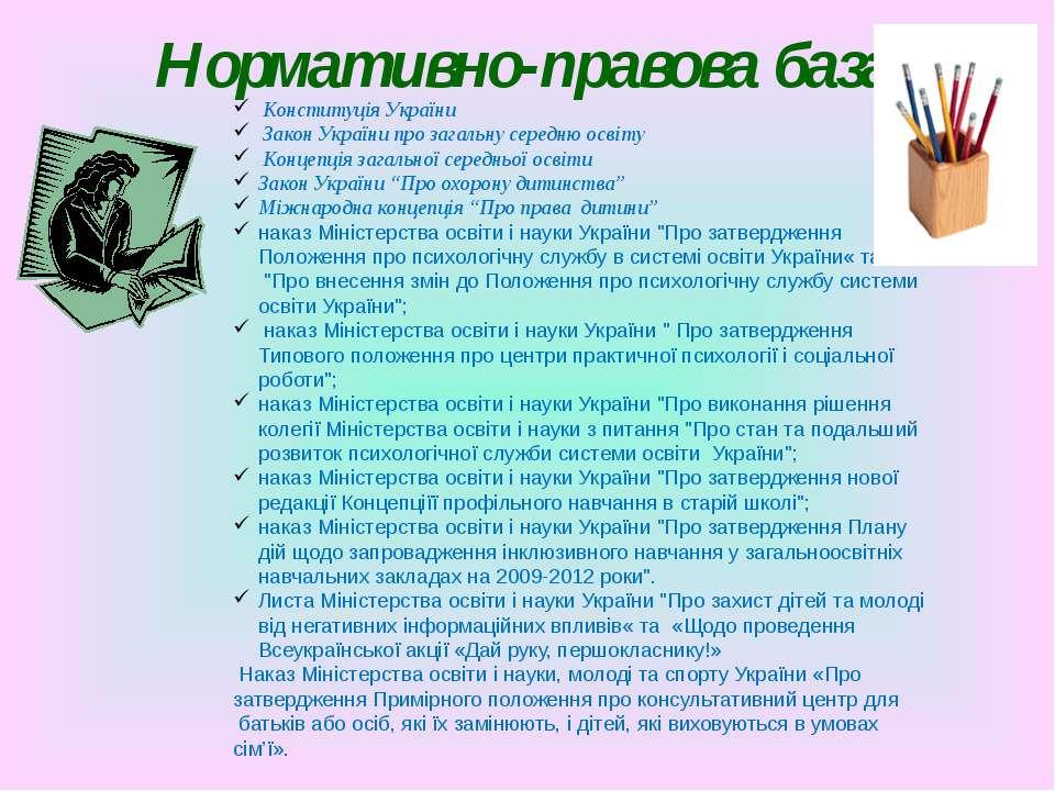 Нормативно-правова база Конституція України Закон України про загальну середн...
