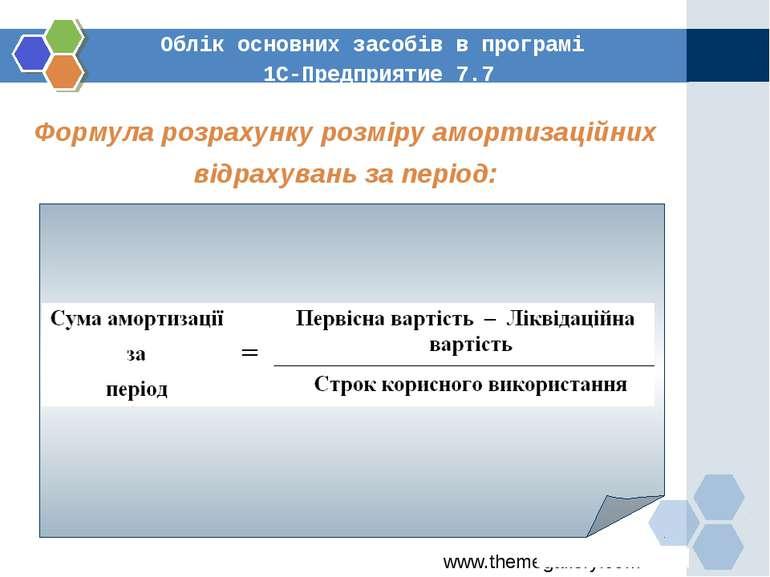 Облік основних засобів в програмі 1С-Предприятие 7.7 Формула розрахунку розмі...