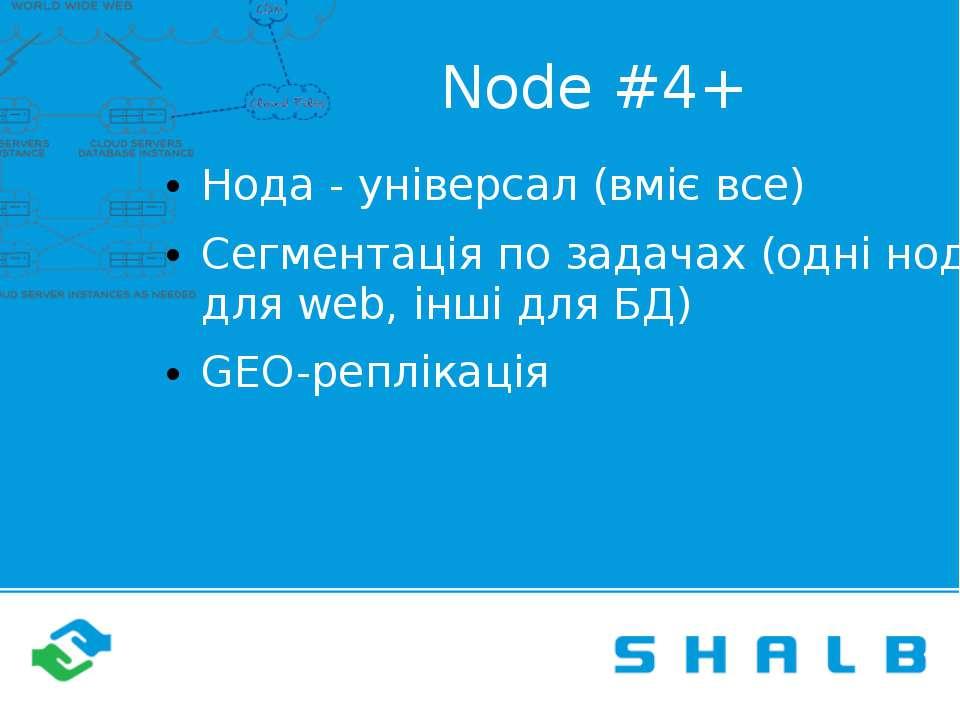 Node #4+ Нода - універсал (вміє все) Сегментація по задачах (одні ноди для we...