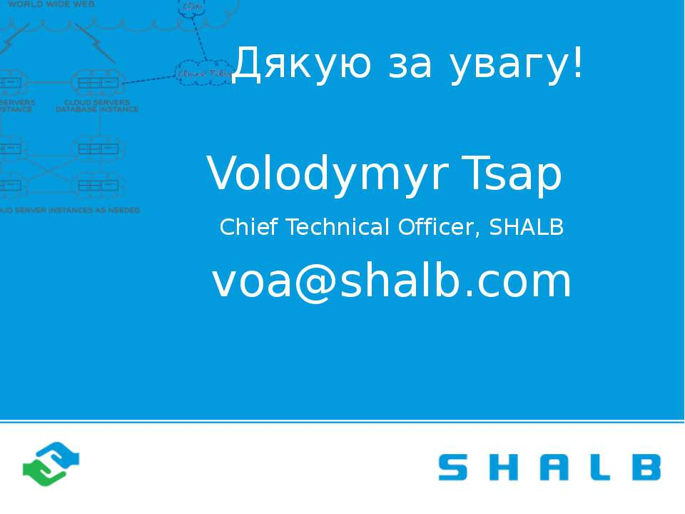Дякую за увагу! Volodymyr Tsap Chief Technical Officer, SHALB voa@shalb.com