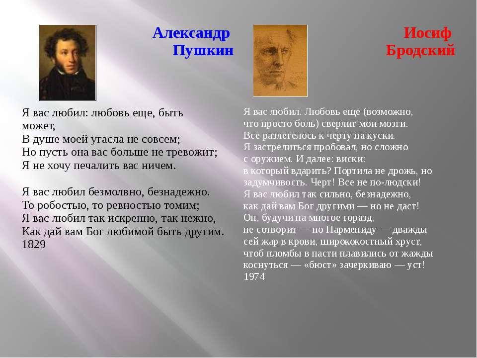 Александр Пушкин Иосиф Бродский Я вас любил: любовь еще, быть может,...