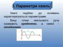 3. Параметри хвиль Хвилі подібно до коливань характеризуються параметрами. Ви...