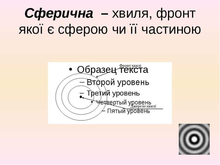 Сферична – хвиля, фронт якої є сферою чи її частиною