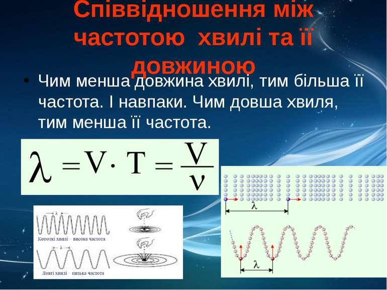 Співвідношення між частотою хвилі та її довжиною Чим менша довжина хвилі, тим...