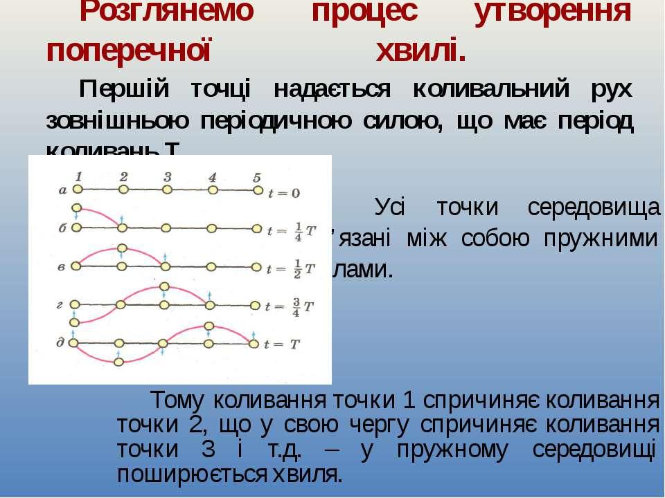 Розглянемо процес утворення поперечної хвилі. Першій точці надається коливаль...