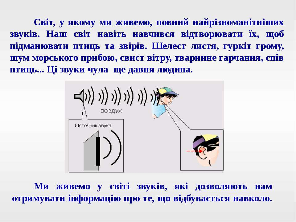 Ми живемо у світі звуків, які дозволяють нам отримувати інформацію про те, що...