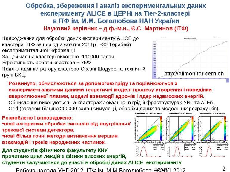 Обробка, збереження і аналіз експериментальних даних експерименту ALICE в ЦЕР...