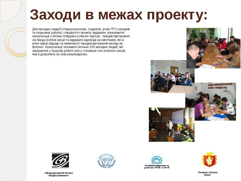 Заходи в межах проекту: Для молодих людей (старшокласників, студентів, учнів ...