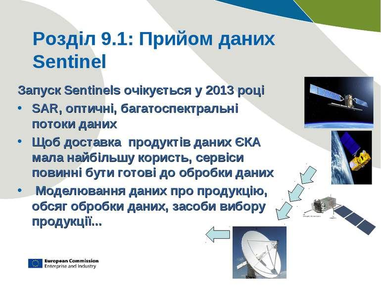 Розділ 9.1: Прийом даних Sentinel Запуск Sentinels очікується у 2013 році SAR...
