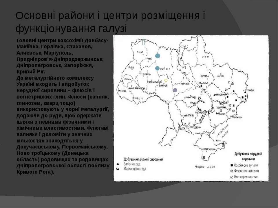 Головні центри коксохімії Донбасу-Макіївка, Горлівка, Стаханов, Алчевськ, Мар...