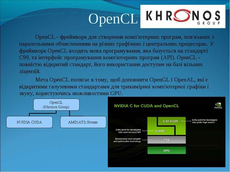 OpenCL OpenCL - фреймворк для створення комп'ютерних програм, пов'язаних з па...