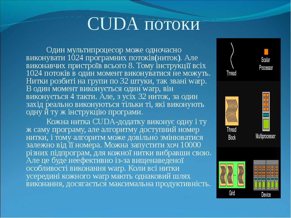 Один мультипроцесор може одночасно виконувати 1024 програмних потоків(ниток)....
