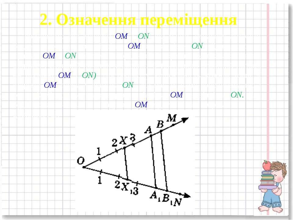 2. Означення переміщення Розглянемо два відрізки ОМ і ON, які мають однакову ...