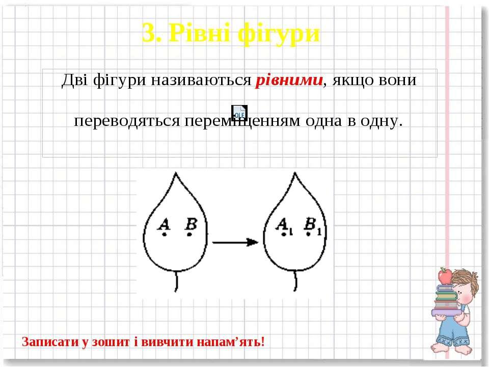3. Рівні фігури Записати у зошит і вивчити напам'ять!