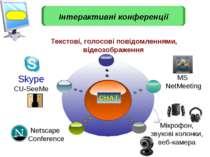 Skype CU-SeeMe Текстові, голосові повідомленнями, відеозображення Мікрофон, з...