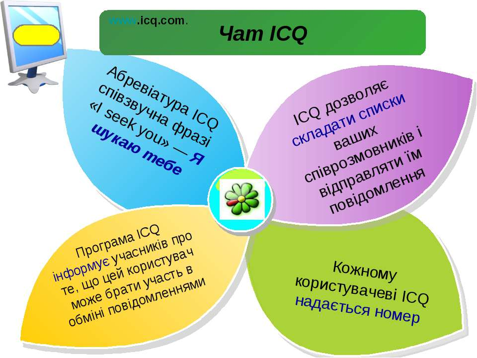 Абревіатура ICQ співзвучна фразі «І seek you» — Я шукаю тебе ICQ дозволяє скл...