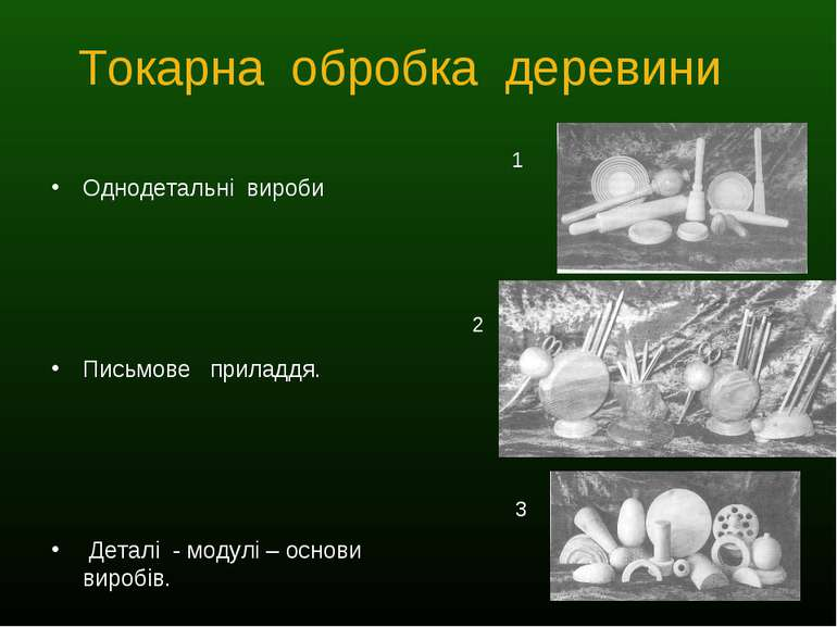 Токарна обробка деревини Однодетальні вироби Письмове приладдя. Деталі - моду...